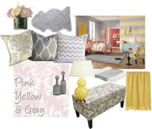pink grey and yellow rooms | Pink, Yellow & Gray | Guest Bedroom Ideas