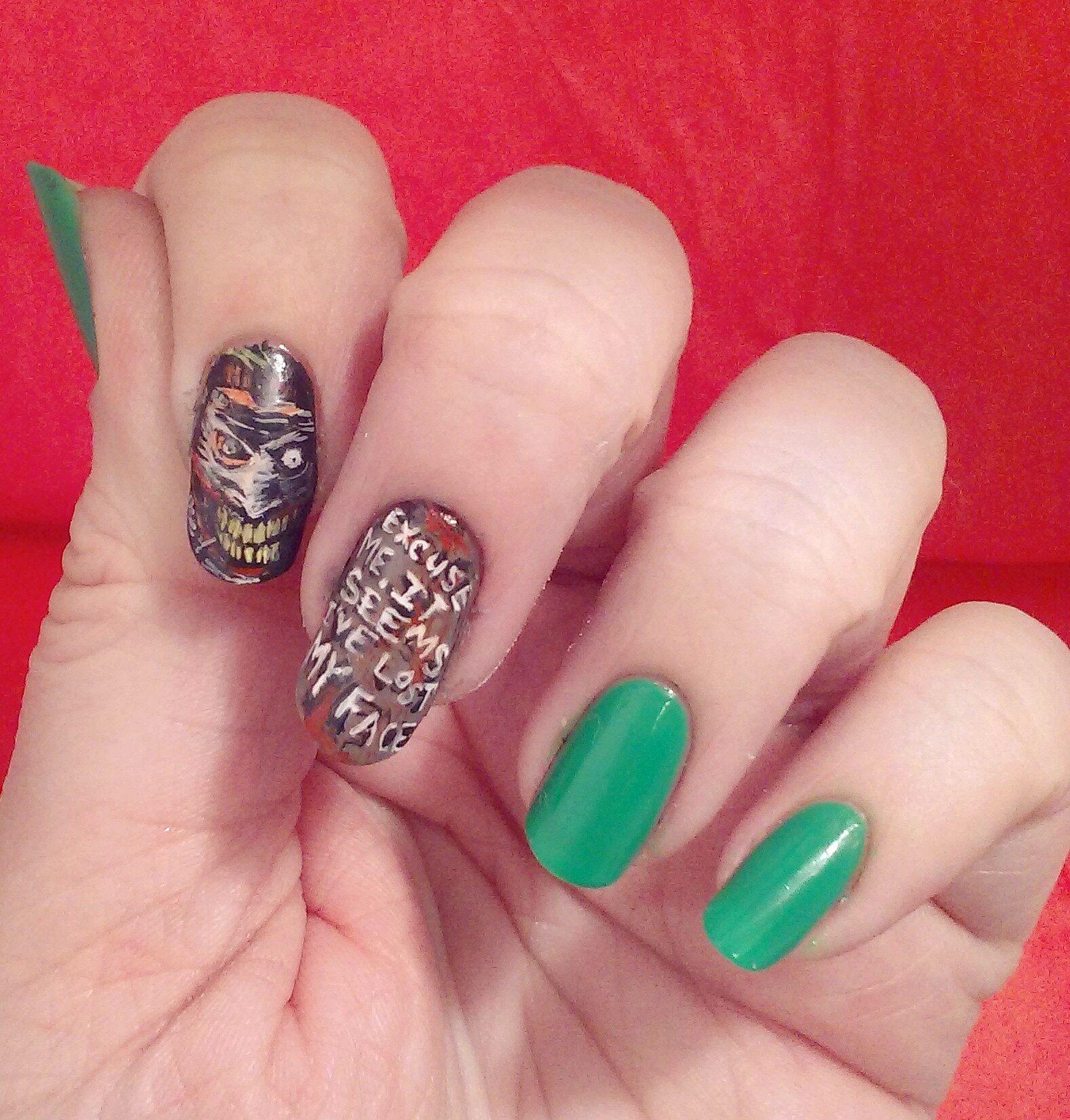 Joker freehand nail art   Nails   Pinterest   Joker