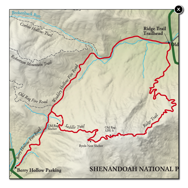 Best Shenandoah National Park Hike Trail Map National Geographic - Old rag map