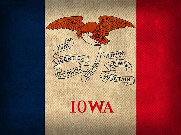 Iowa State Flag On Worn Canvas State Flag Art State Prints Iowa