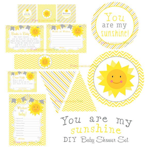 Baby Shower You Are My Sunshine ~ You are my sunshine baby shower set yellow and gray