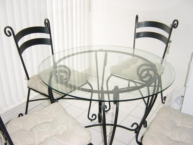 glass and wrought iron table and chairs | PIER 1 Dining Room Set ...