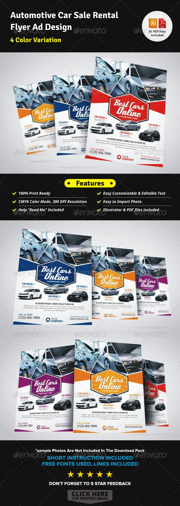 Automotive Car Sale Rental Flyer Ad  For Sale Ad Template