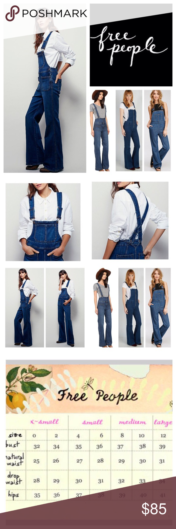"""Free People Teague Retro Denim Overalls.  NWOT. Free People Blue Teague Retro Denim Overalls, 98% cotton, 2% spandex, machine washable, 27"""" waist, 11.5"""" front rise, 14.5"""" back rise, 32.5"""" inseam, 60"""" length from strap to hem, 21"""" leg opening all around, made from stretchy, gummy fabric these retro inspired overalls featured a flared leg and front back slip pockets, front bib pocket, two back pockets, hidden side zip button closure, adjustable straps, measurements are approx. New without tag…"""