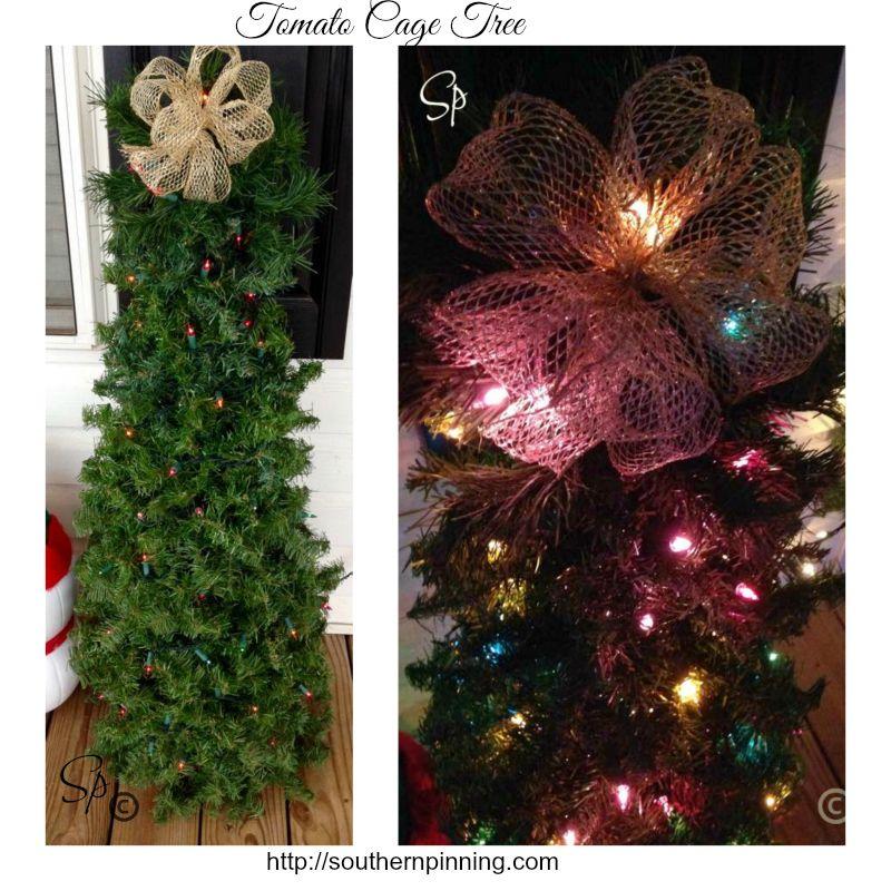 DIY Tomato Cage Christmas Tree EASY PEASY! #tomatocagechristmastree