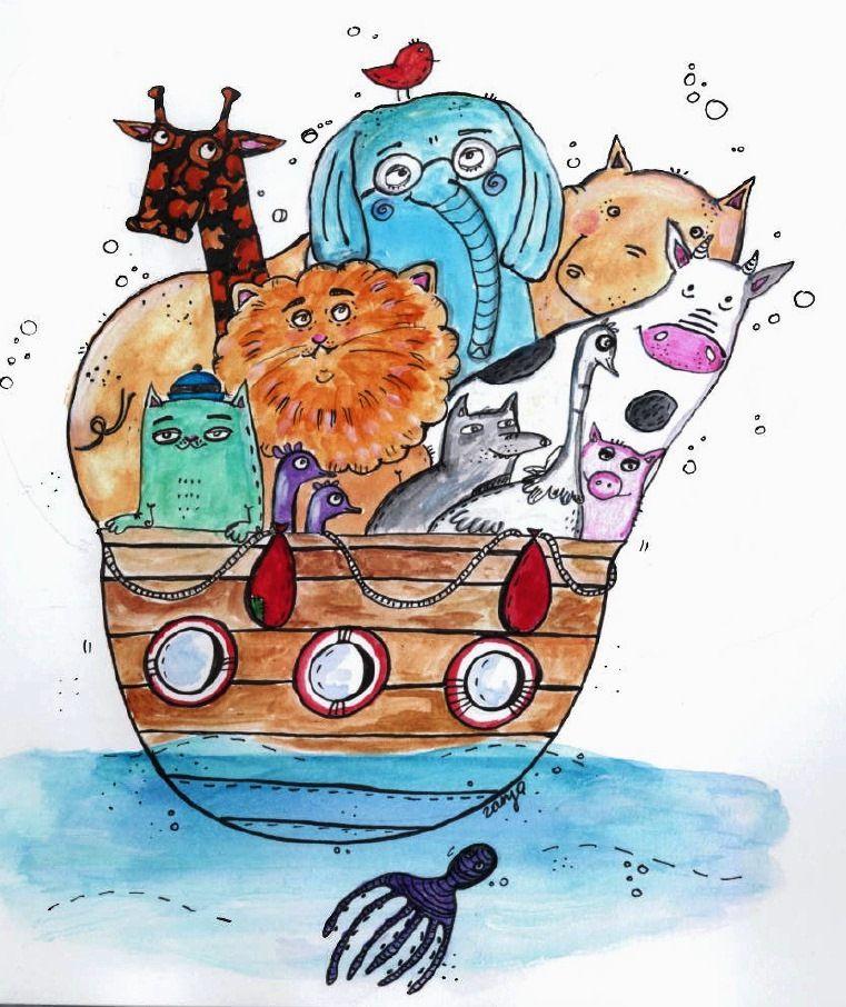 Noah`s ark animals watercolors Josh Bible (с изображениями)