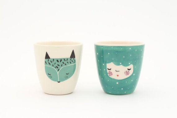 Juego de 2 - menta color tazas de cerámica hecha a mano - vajilla de ilustración - serveware - de Fox taza de cerámica - taza de café estrafalario - fox - regalo-