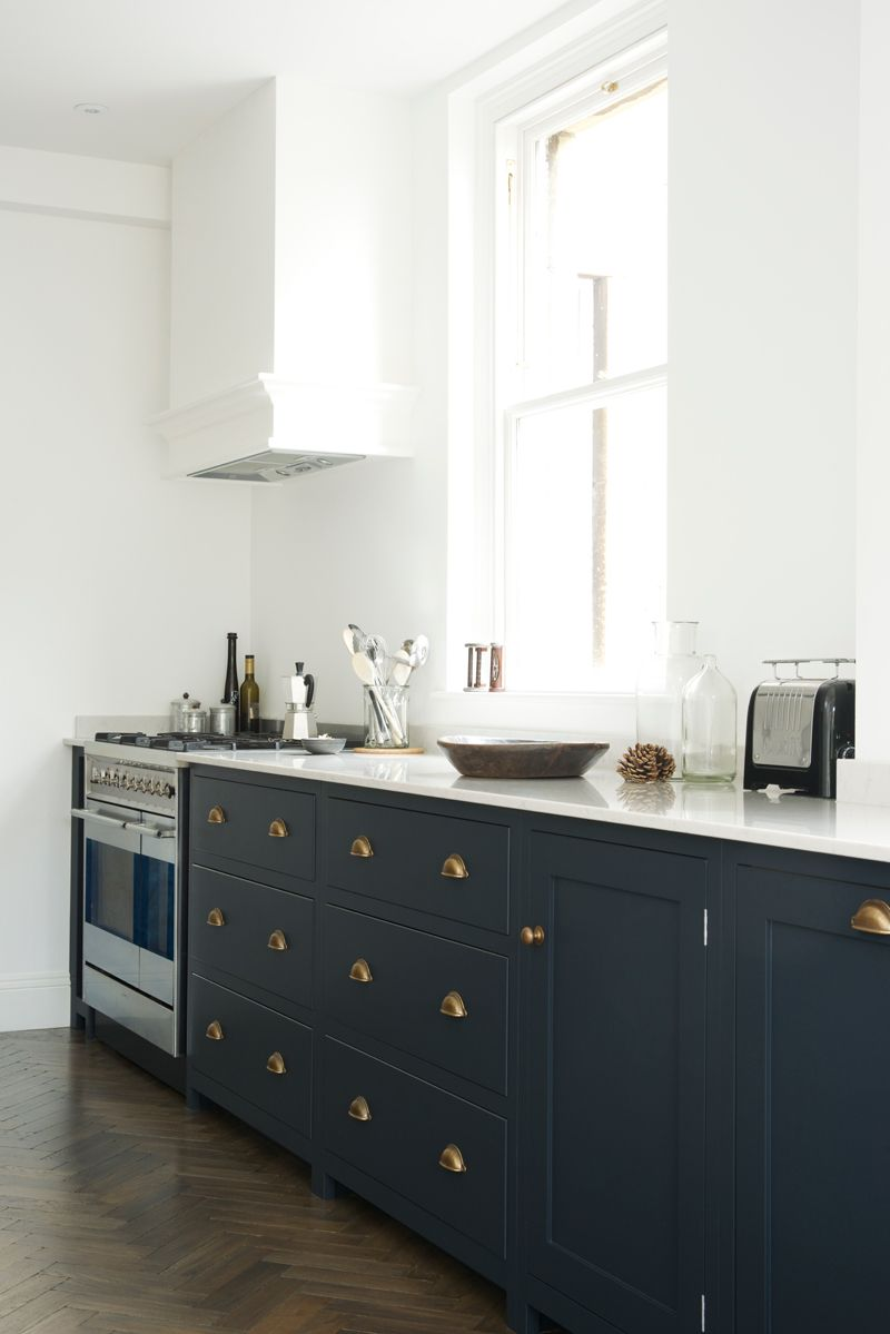 Pantry blue and parquet a perfect match shaker kitchen for Perfect kitchen and bath quincy