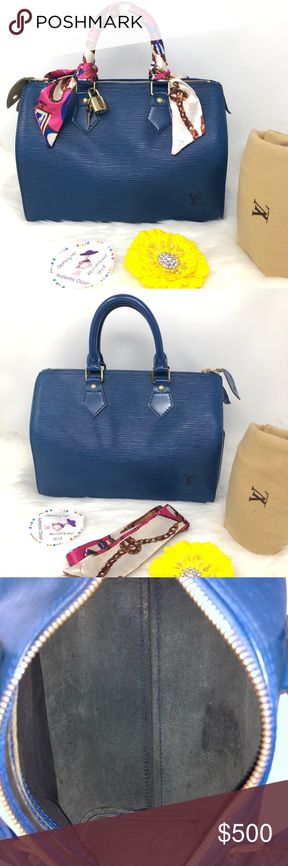 c106d4c35e7e Louis Vuitton Epi Leather Blue Speedy 25 Bag 💥Price is Firm💥 100%  Authentic Preowned Used Made in France Date Code VI0962 With Authentic  Lockset   Dust ...