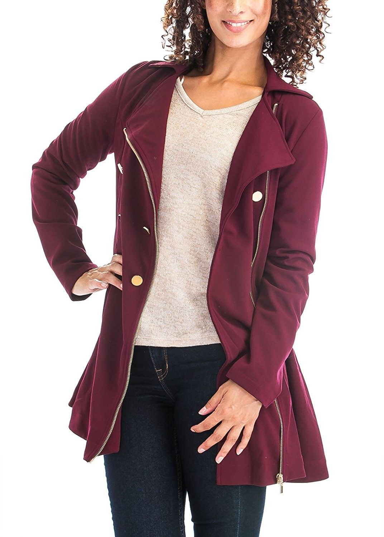Womenus Slim Fit Faux Fur Collar Tone Melange Fleece Knit Jackets