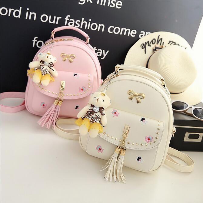 7beb388792 Kawaii Cute Bowknot Floral Embroidery Mini Backpacks Pu Leather Small  Bookbag Sy