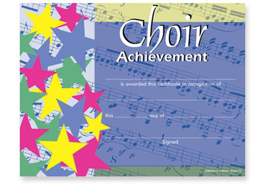 COLORFUL CHOIR AWARD CERTIFICATES PKG 25 - 11 - certificate of participation format