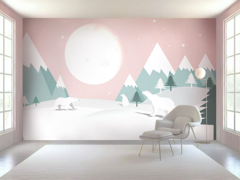 Kids Mountainscape With Cute Bears And Pink Skyscape Wallpaper Mural Kids Wall Murals Kids Room Murals Kid Room Decor