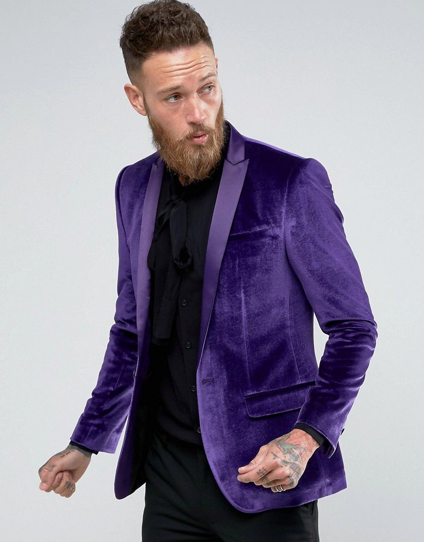 ASOS Skinny Blazer In Purple Velvet Purple   Wedding Ideas