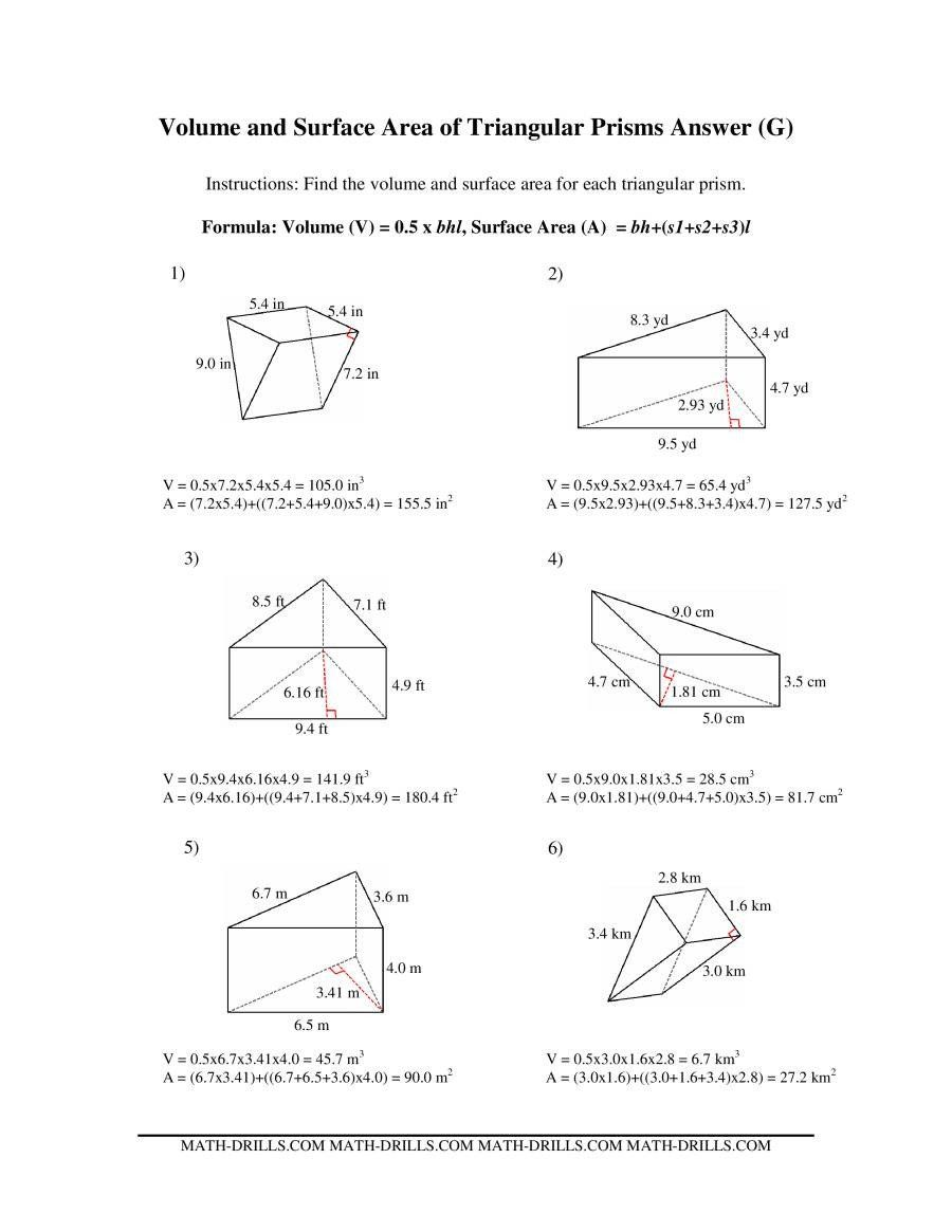 Volume Of Trapezoidal Prism Worksheet Volume And Surface Area Of Triangular Prisms G Trapezoidal Prism Worksheets Worksheets Free