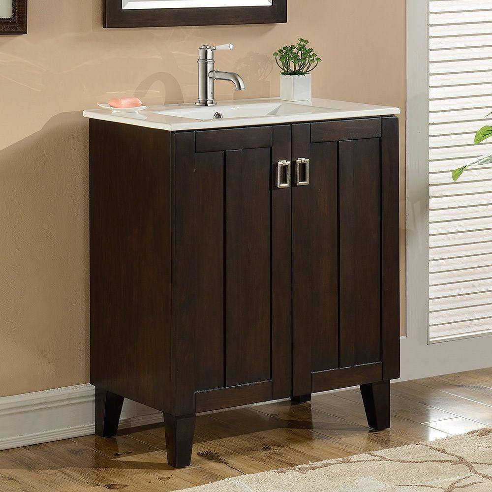 Infurniture 30 Inch Single Sink Bathroom Vanity In Brown Finish