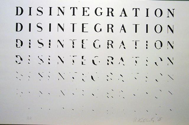 "Artist Richard Kostelanetz, 1975  ""Disintegration""  screenprint   [Procuniar Workshop]"