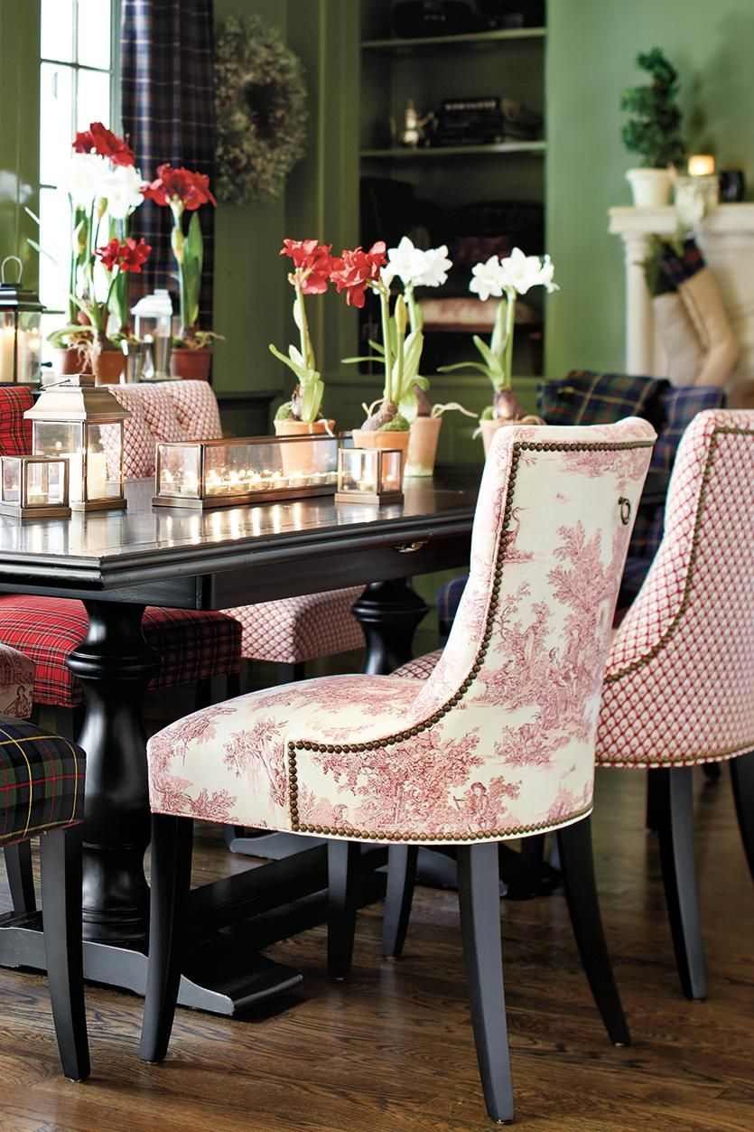 What Is Toile Woven Dining Chairs Mismatched Dining Room