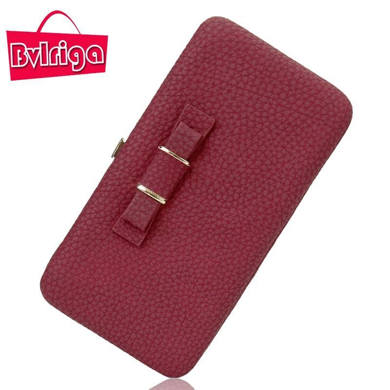 35251e2f809f buy on wallmart.win BVLRIGA Brand Bow Tie Leather Female Wallet Women Purse  Coin Credit