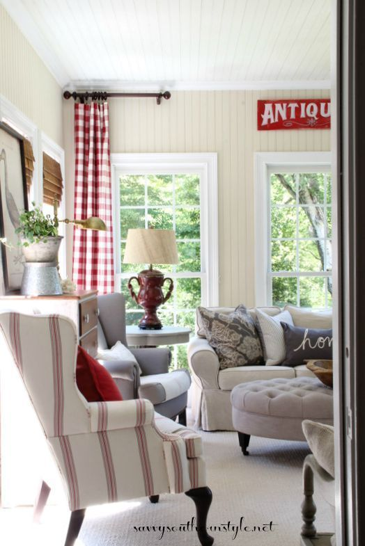 A New Look In The Sun Room Farm House Living Room Country House Decor Home Living Room #red #and #grey #living #room #curtains