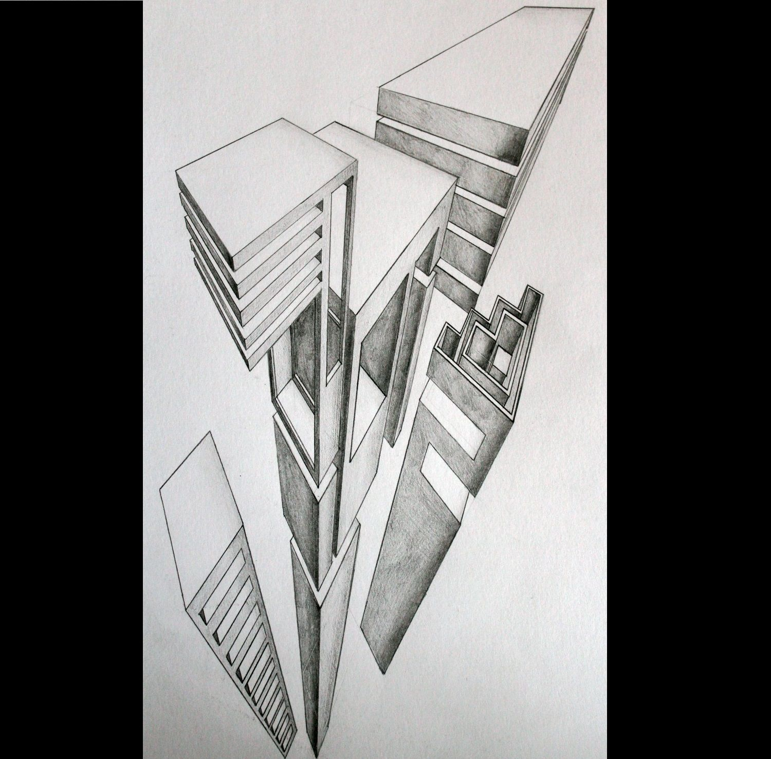 Architecture with vanishing points  #drawing #art #realistic #architecture #vanishingpoint