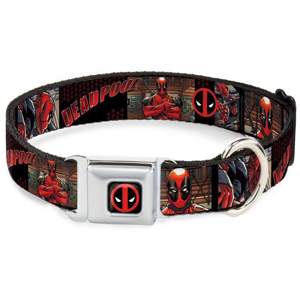 BuckleDown DPA Dead pool Logo Black/Red/White Dog Collar