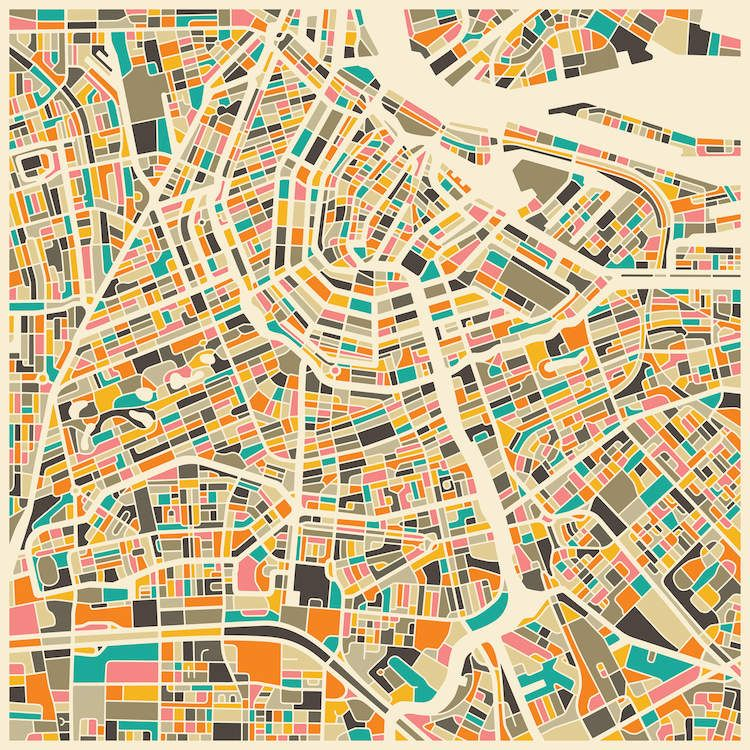 iCanvasART Abstract City Map of Melbourne Canvas Print 37 x 37