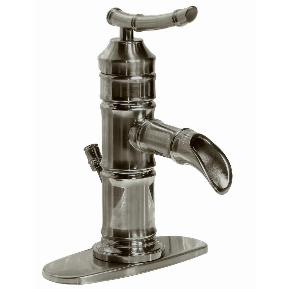 Pegasus Bamboo 4 in. Centerset 1-Handle Bathroom Faucet in Brushed ...