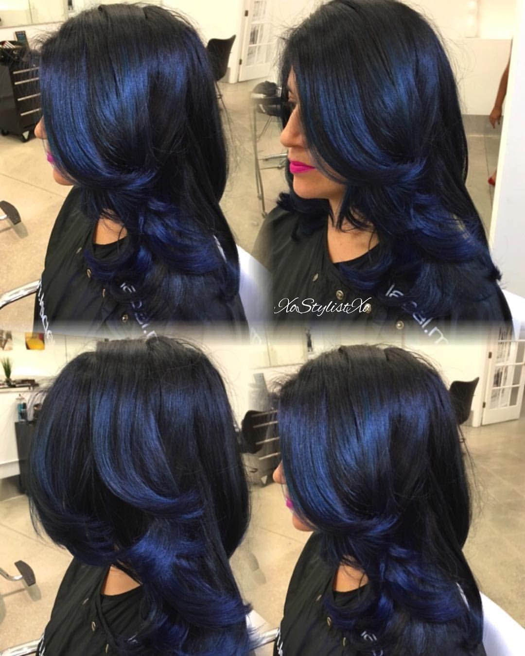 Black Ice Blueblackhair Colorful Hairhair Colourblue