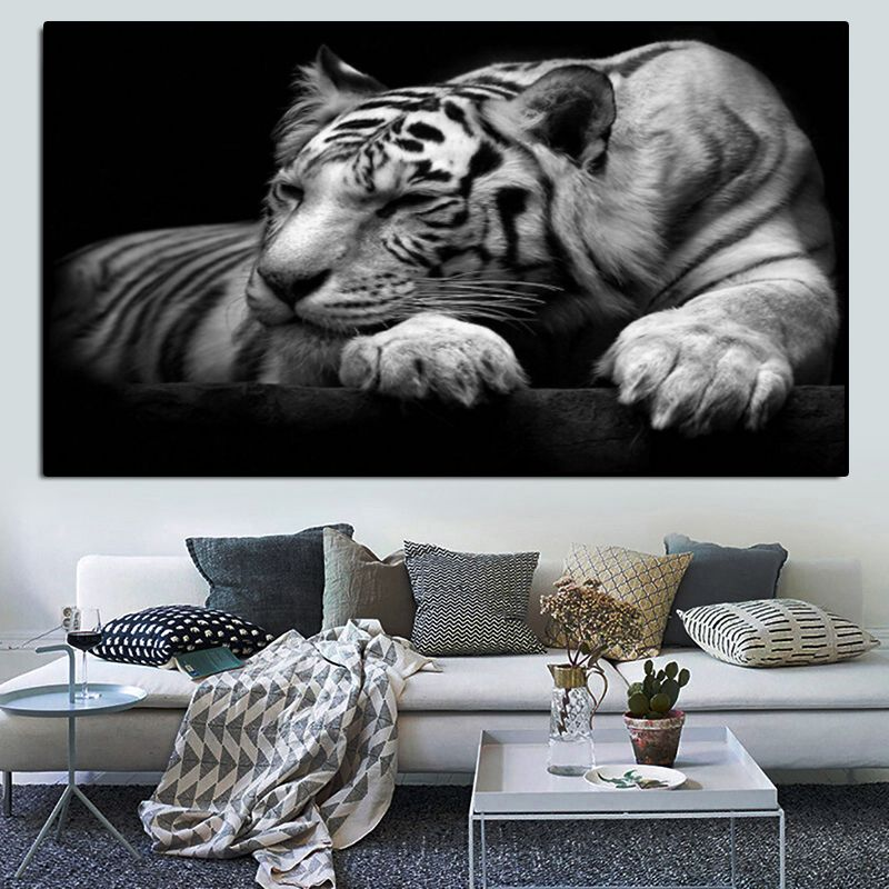 Endangered White Tiger Multi Panel Canvas Wall Art Wall Canvas Unique Canvas Multi Panel Canvas