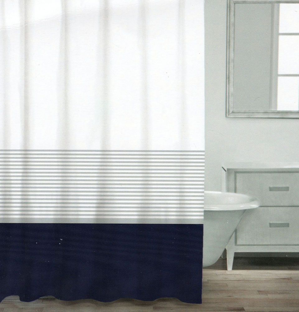 CARO Home Cotton Shower Curtain Wide Stripe Navy Blue Silver White Nautical  NEW