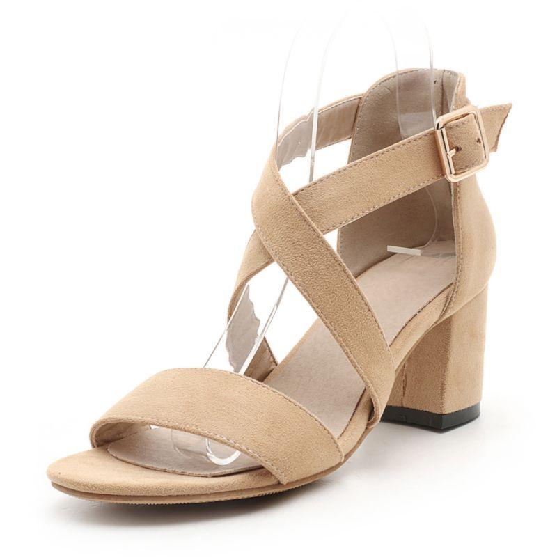 BONJOMARISA Small Big Size 32-43 Fashion Women Sandals Roman Style Cross Strap Square Heels Woman Dating Shoes