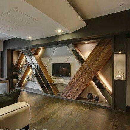 Diseñointerior Ambiente marcado por detalle en pared formado por