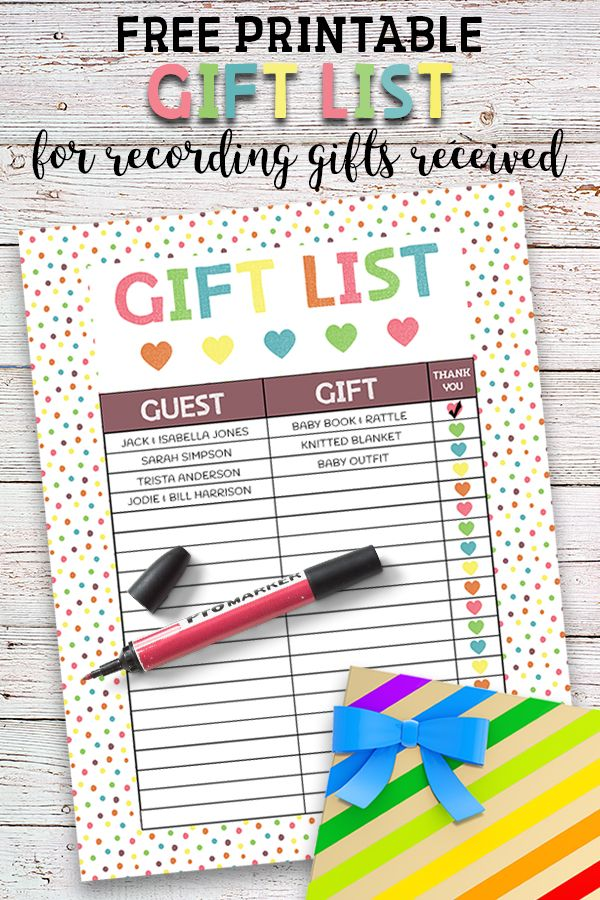 Free Printable Baby Shower Guest List Printable Baby Shower Gift List  Baby Shower Gift List Free .