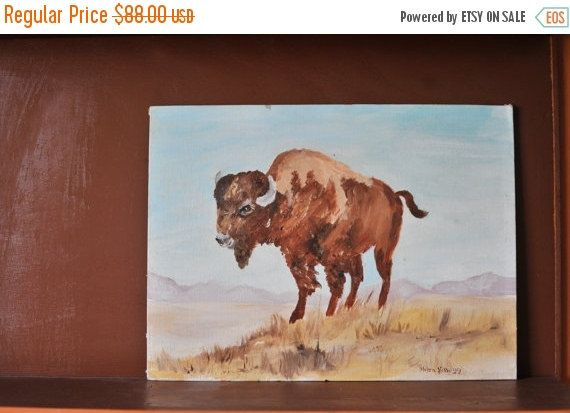 On Sale Vintage Buffalo Painting Wildlife Painting by TheWildPlum