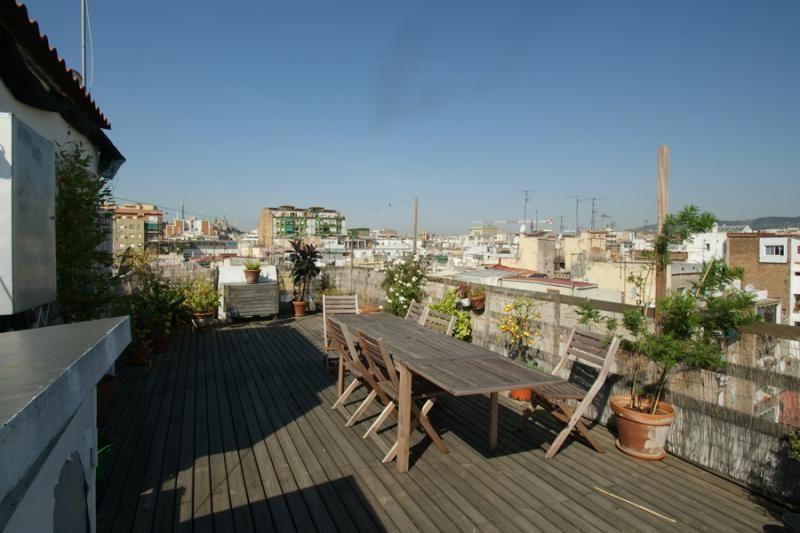 A Terrace In A Penthouse In Raval Barcelona Alquiler Vivienda Decoracion De Exteriores Terraza