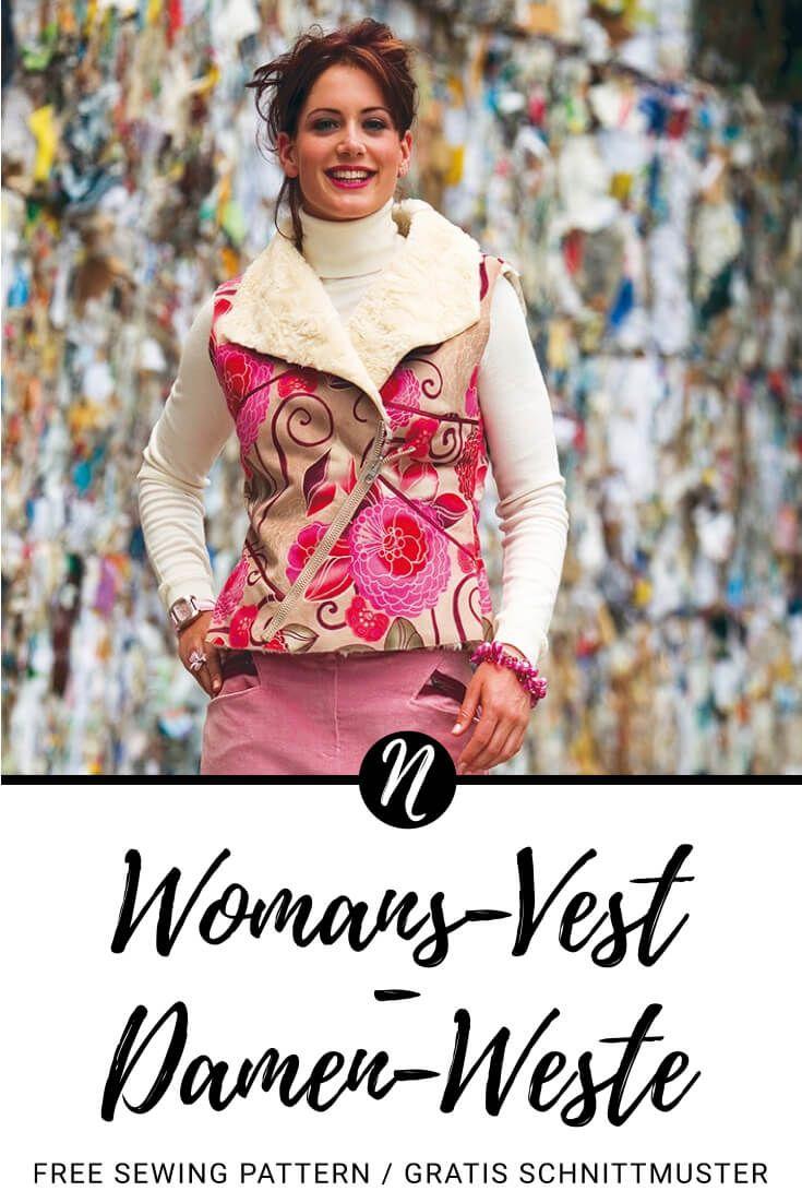 Damenweste | Kostenloses Schnittmuster Gr. 36 - 44 | Nähtalente #womenvest