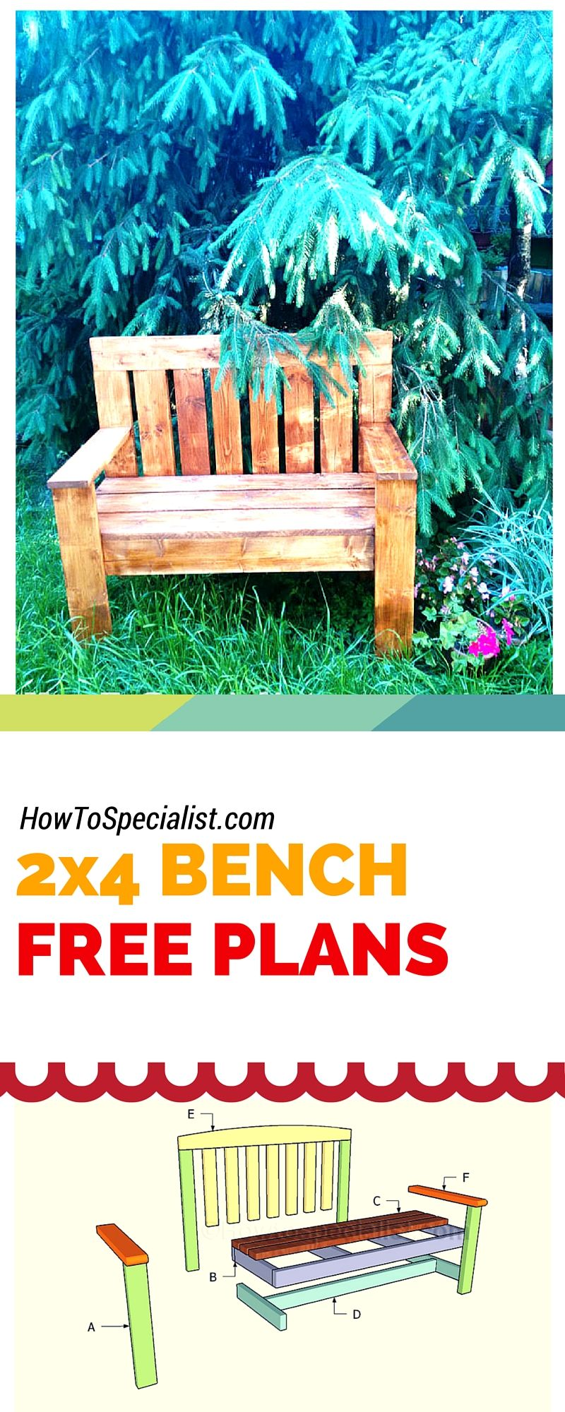 How To Build A 2x4 Garden Bench Easy To Follow Free
