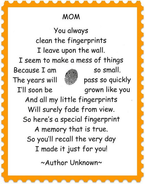 Fingerprint Poem Mothers Day Crafts Mothers Day Mom Day
