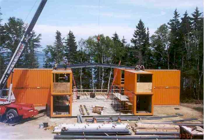 adam kalkin orange container home (front, construction) - maine