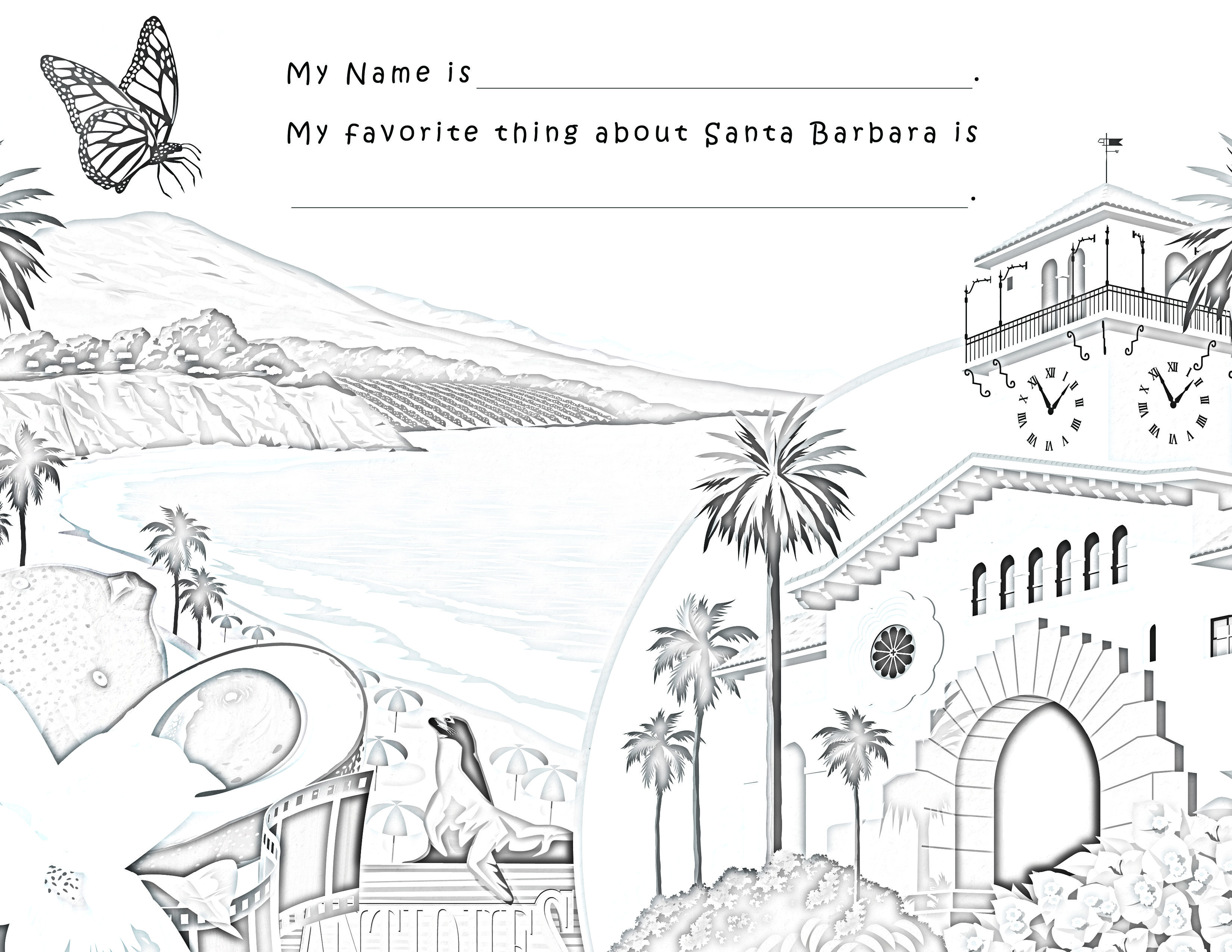 Santa barbara south coast coloring page you tell us what is your