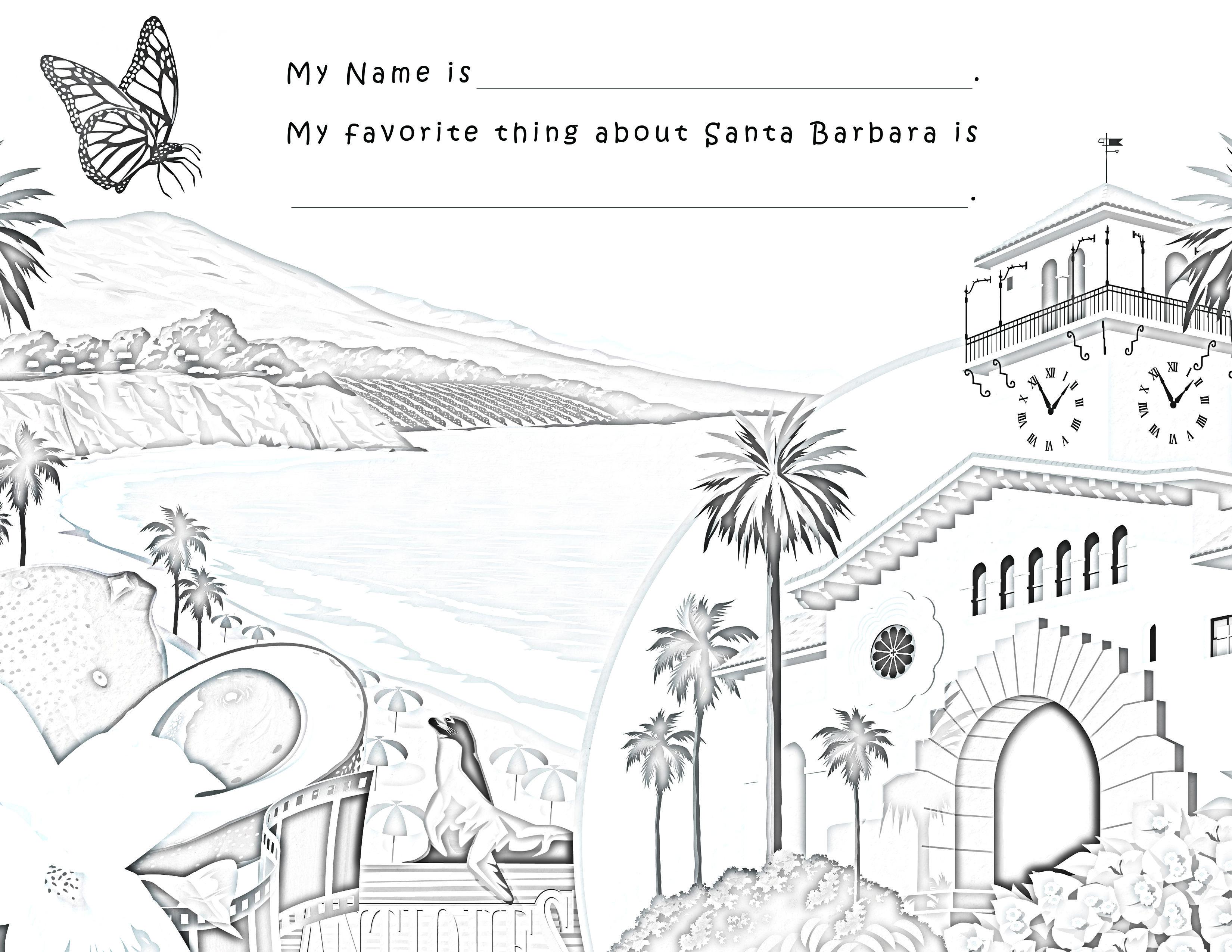 Santa Barbara South Coast Coloring Page! You tell us, what
