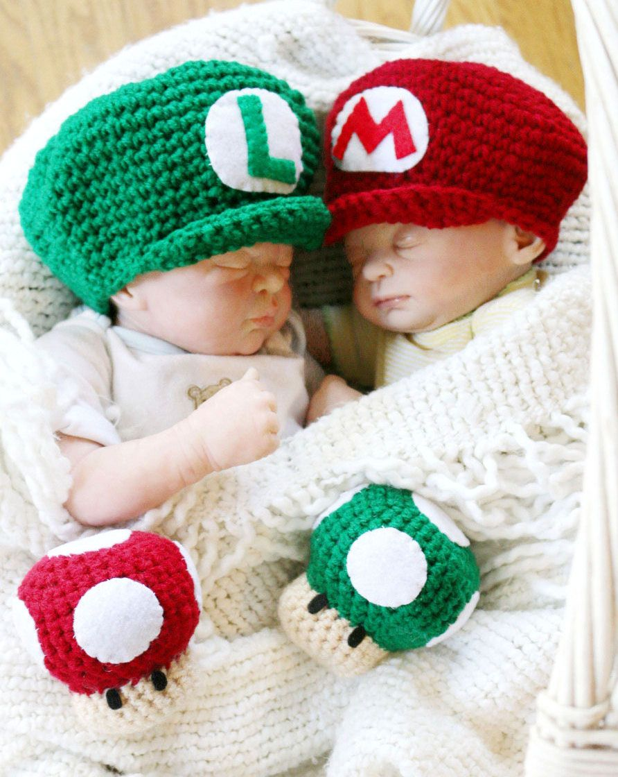 5032b520be1 Super Mario Bros Newborn Crochet Hat Set  supermario  mario  nintendo   cosplay  kawaii  cute  merchandise