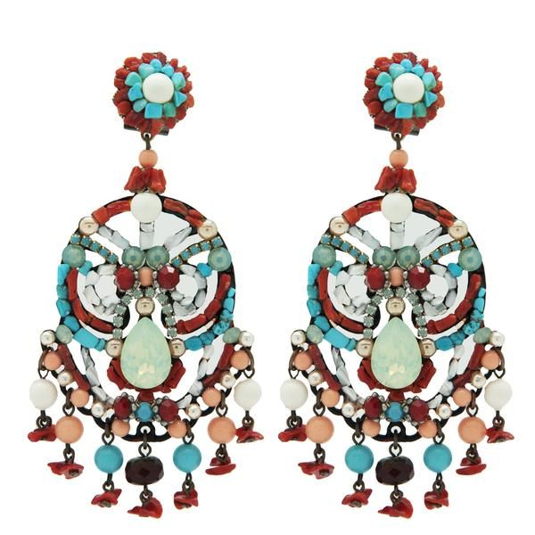 Talulah Earrings - Coral and Turquoise