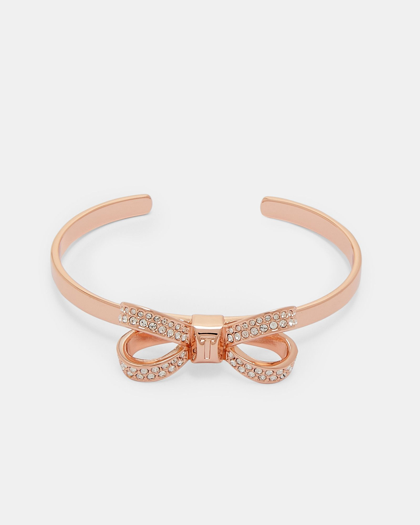 Swarovski crystal bow cuff rose gold jewelry ted baker
