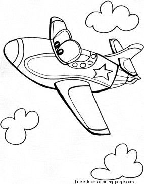 Jet Air Plane Whit Face Coloring Pages Airplane Coloring Pages