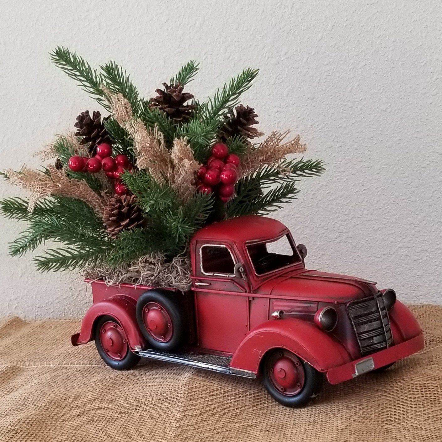 Christmas Truck Red Christmas Truck Old Red Truck Decor Etsy Christmas Arrangements Red Truck Decor Christmas Towels