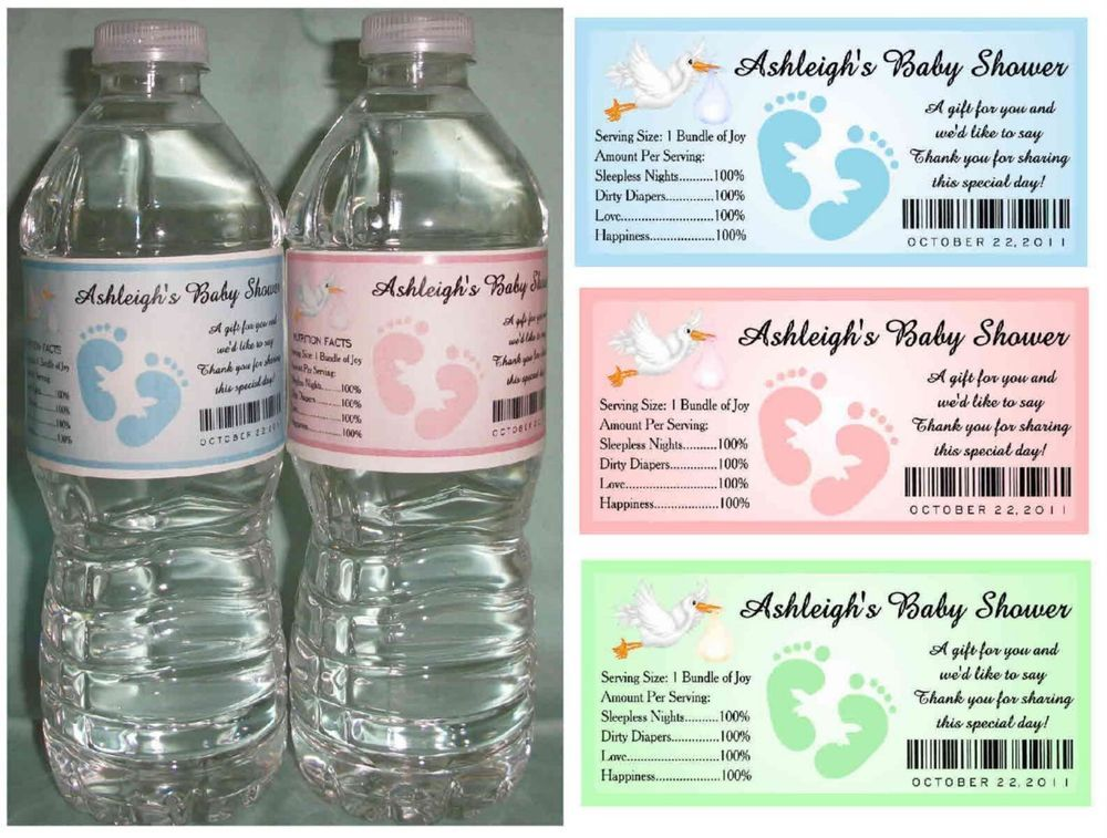 Details About 30 Baby Shower Water Bottle Labels Party Favors