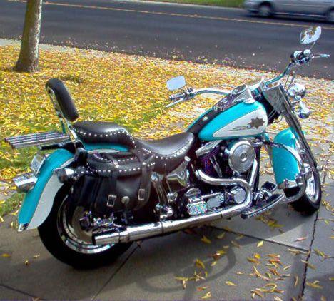 1997 Harley Davidson Fatboy Softail Motorbike In Bright Aqua Paint By Bob Harley Davidson Aqua Paint Softail