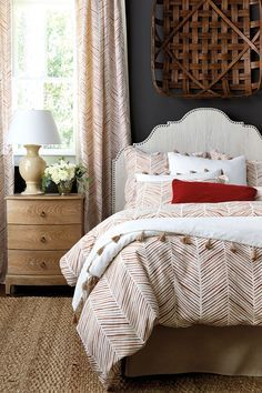 Decorate your bedroom with an all over pattern like our watercolor herringbone